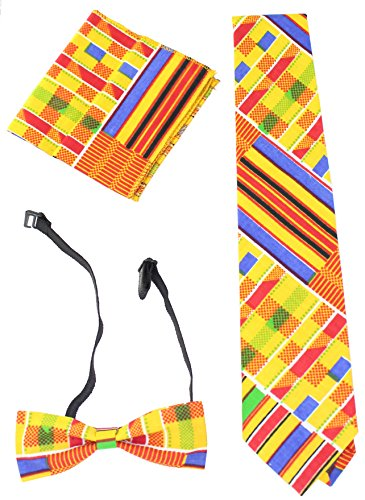 Kente Tie Set - Style 1 (Yellow Kente) (Ties African Inspired)