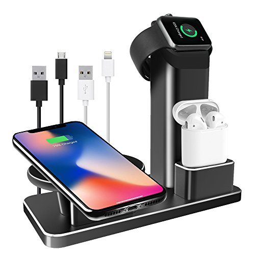 iPhone X Wireless Charger Stand, Apple Watch Charging Stands iPhone Charging Dock AirPods Charging Docks 3 in 1 Aluminum for Apple Watch Series 3/2/1, AirPods, iPhone X/8/8 Plus (Black)