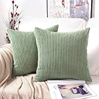 ADMOZ Decor Pillow Covers Soft Decorative Striped Corduroy Velvet Square Summer Mustard Throw Pillow Sofa Cushion Covers Set Couch, 2 Pack, 18 x 18 inch (45cm) (Stype-12)