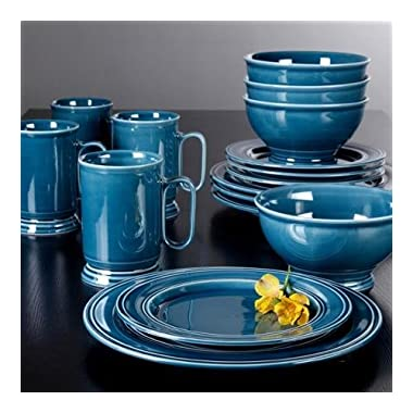 Better Homes and Gardens Admiraware 16-Piece Dinnerware Set, Round, Aqua