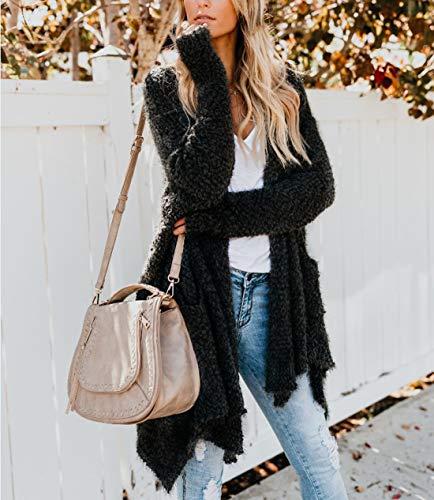 Plush Lunga Nero Casual Autunno Fox Parka Irregolare Jacket Donne Cardigan Tops Giacche Fräulein Inverno Cappotto Coat Manica Cime Moda Outwear 58IqcYB