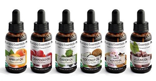 Europa Essentials 6-Pack 100% Organic Carrier Oil Variety Gift Set for Moisturizing Skin, Hair, Nails - Apricot Oil, Castor Oil, Coconut Oil, Grapeseed Oil, Jojoba Oil, Sweet Almond Oil (1oz (100% Love Gift Set)