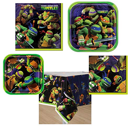 "Teenage Mutant Ninja Turtles TMNT Party Supplies Pack 16 Guests 16 Luncheon Plates 8 3/4"" in Diameter 16 Dessert Plates 6 7/8"" in Diameter 16 Luncheon Napkins 16 Dessert Napkins -"