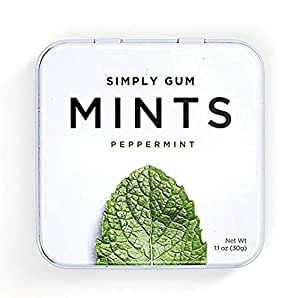 Natural, Vegan Breath Mints by Simply Gum, Peppermint, 45 Count, Pack of 6