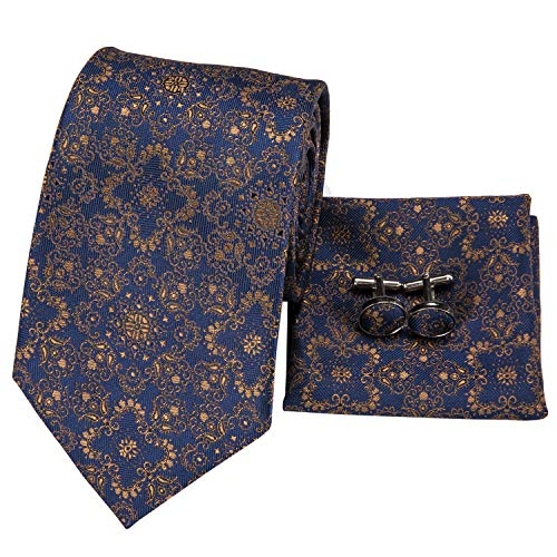 - Hi-Tie Mens Floral Tie Novelty Necktie Handkerchief Cufflinks set Jacquard Woven Silk Tie Set (Blue Brown)