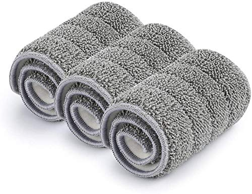 Washable Microfiber Mop Pads (3 Pack) - Microfiber Replacement Mop Pads Heads 16.53 x 5.4Inches for Cleaning of Wet or Dry Floors - Professional Home/Office Cleaning Supplies