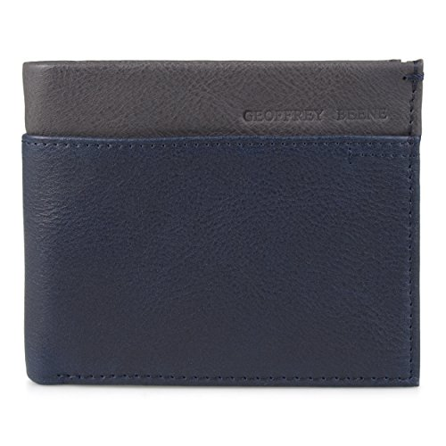 Nantucket Leather Wallet - Geoffrey Beene Men's Double Billfold In Two-Tone Colors, Midnight/Nantucket, One Size