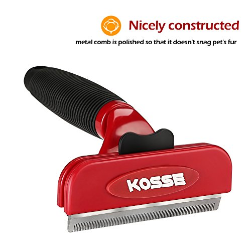 Professional Pet Deshedding Tool with Fur Ejector, Kosse Grooming Brush Effectively Reduces Shedding by up to 90%, Grooming Comb for Cats and Dogs (Medium) by Kosse (Image #3)