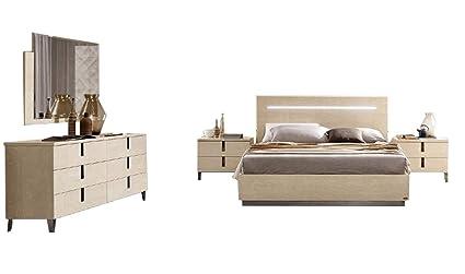Amazon.com: Ambra Queen Bedroom Set in Beige, 5-Piece ...