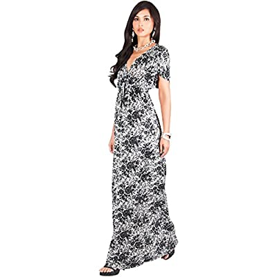 KOH KOH Womens Long Kimono Sleeve Floral Lace Print Cocktail Evening Maxi Dress at  Women's Clothing store
