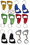 Pack of 12 Aluminum Bottle Opener Key-chain Barefoot Foot Shape/ kitchenware collectibles – Size: 2 1/2 x 1 1/2 For Sale