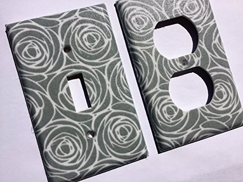Gray White Roses Light Switch Plate Cover - Various Sizes Light Switchplates Offered