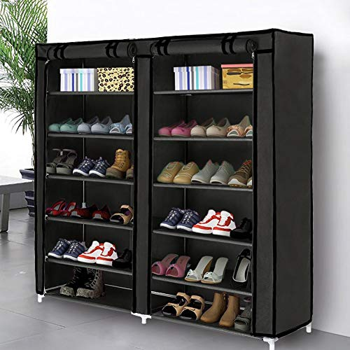 - Blissun Shoe Rack Shoe Storage Organizer Cabinet Tower with Non-Woven Fabric Cover (Black)