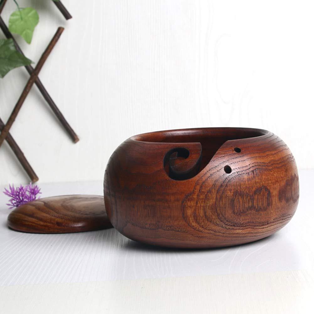 Handmade Storage Organizer for Yarn 10-16cm Wooden Yarn Bowl Yarn Holder Dispenser for Knitting and Crochet Wood Yarn Bowls with Removable Lid