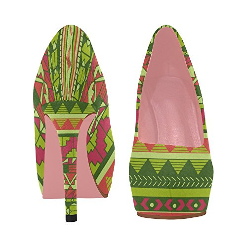 Size Colorful Color10 5 Womens InterestPrint Heel High Prin On Pumps Aztec Flowers Ethnic Pattern Graphic Wedge Shoes 11 SqqzT6d
