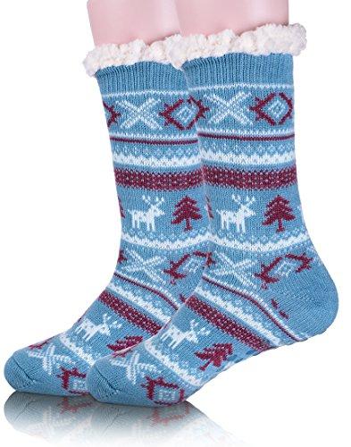 105ad7a4 Ebmore Kvinners Jule Uklar Varm Vinter Hjort Fleece Tøffel Mannskap Sokker  Blå
