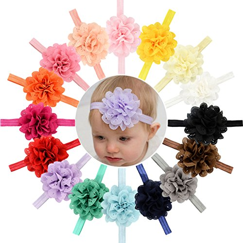 16pcs Baby Girls Headbands Flowers Soft Hairbands for Baby Girls Infants Toddlers Cute Baby Headbands