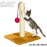 Tiragraffi in sisal per unghie gatti e pallina da gioco 30 x 30 x 35 cm base in legno 98990 MWS