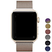 Straper Apple Watch Band 42mm 38mm, Smooth Stainless Steel Strap Freely Fully Magnetic Closure Clasp Metal Strap Wrist Band Replacement Bracelet For IWatch Band Series 3 Series 2 Series 1