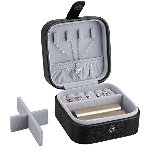 - SONGMICS Small Jewelry Box Portable Travel Case Organizer for Rings Necklaces, Black, UJBC147BK