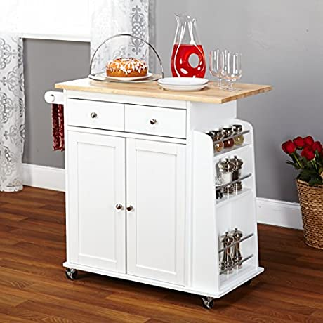 Modern Kitchen Cart With Wooden Top And One Utility Drawer 2 Door Storage Cabinet With An Adjustable Shelf Also It S Made With Rubber Wood And MDF In White 4 5 H X 35 5 W X 17 6 D