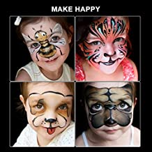 Halloween Supplies Face Painting Kits Halloween Body Painting 12 Colors 2 Paint Brushes 2 Face Painting Stencils for Kits