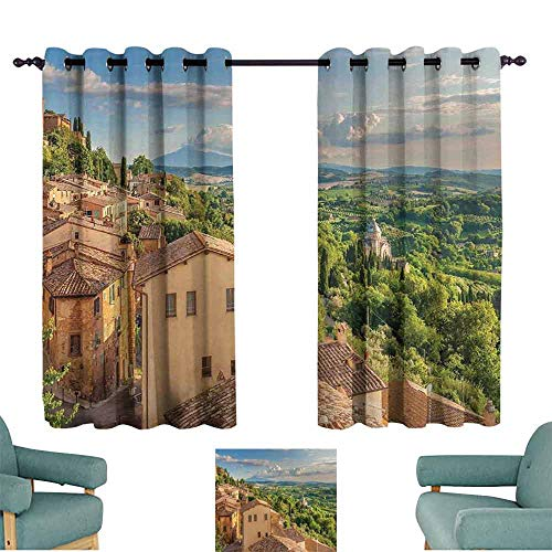 Mannwarehouse Tuscan Sliding Curtains Sunset Rural Landscape Cypresses Forest Hills Greenery Blue Sky Clouds 70%-80% Light Shading, 2 Panels,55