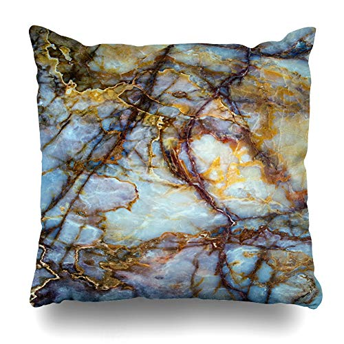 Ahawoso Throw Pillow Cover Square 20x20 Artist Brown Granite Natural Stone Onyx Opal Marble Industrial Red Gold Black Color Zippered Cushion Pillow Case Home Decor ()