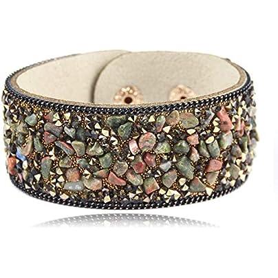 ZUOZUO Leather Wristband Stone Bracelet Women Wrap Cuff Leather Bracelet Crystal Rhinestone Couple Natural Estimated Price £16.99 -