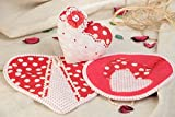Handmade Cotton Fabric Kitchen Utensils Set 3 Items Pot Holders And Wall Hanging