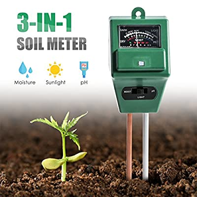 Wallfire Digital PH Soil Tester, 3-in-1 PH Moisture Sunlight Sensor Probe Meter PH Soil Test Kits Test Function For Home And Garden, Plants, Farm, Indoor/Outdoor Use. (3-in-1 Soil pH Meter)