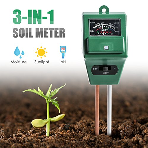 Wallfire Soil pH Meter, Digital 3-in-1 Soil Test kit for Moisture/Sunlight & pH Testing with Probe Sensor For Home And Garden, Plants, Lawn, Farm, Herbs & Gardening Tools, Indoor/Outdoor Use.