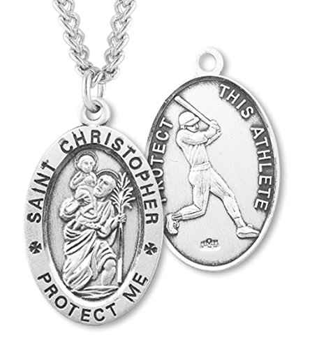 Christopher Baseball - Men's Sterling Silver Oval Saint Christopher Baseball Medal + 20 Inch Rhodium Plated Chain & Clasp