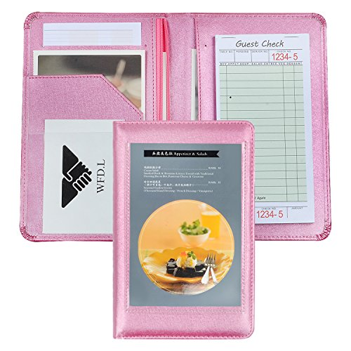 Server Books for Waitress Or Waiter | Server Wallet with Zipper Pocket for Restaurant Receipt Or Money Check Holder | Waitress Book Fits in Apron + Includ Guest Order Note Pad by WFD.L (Pink Purple)