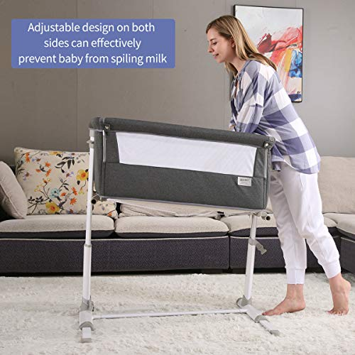 515jkb57lgL - Baby Bassinet,RONBEI Bedside Sleeper,Baby Bed To Bed,Babies Crib Bed, Adjustable Portable Bed For Infant/Baby Boy/Baby Girl/Newborn (Dark Grey)