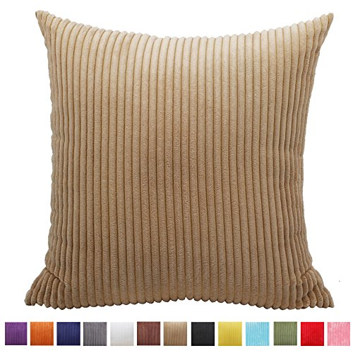 Camel Corduroy (Soft Corduroy Decorative Pillowcase,Momoikcn Solid Color Cushion Cover for Sofa Decorative Throw Pillow Case 20 x 20 (Camel, 20