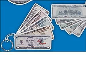 """Llavero """"Las Vegas"""" en billetes de 5, 10, 20, 50 y 100 dólares unidos"""