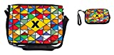 Rikki Knight Letter X Monogram Vibrant Colors Stained Glass Design Design Messenger Bag - School Bag - Laptop Bag - with Padded Insert - Includes UKBK Premium Coin Purse