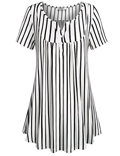 Round Collar Womens Coat - SeSe Code Flowy Tops for Women, Ladies Short Sleeve Black Striped Shirt Round Neck Split Collar Sleek Blouse Classy Beautiful Drapes Cotton Knit Basic Cool Summer Daily Wear Large
