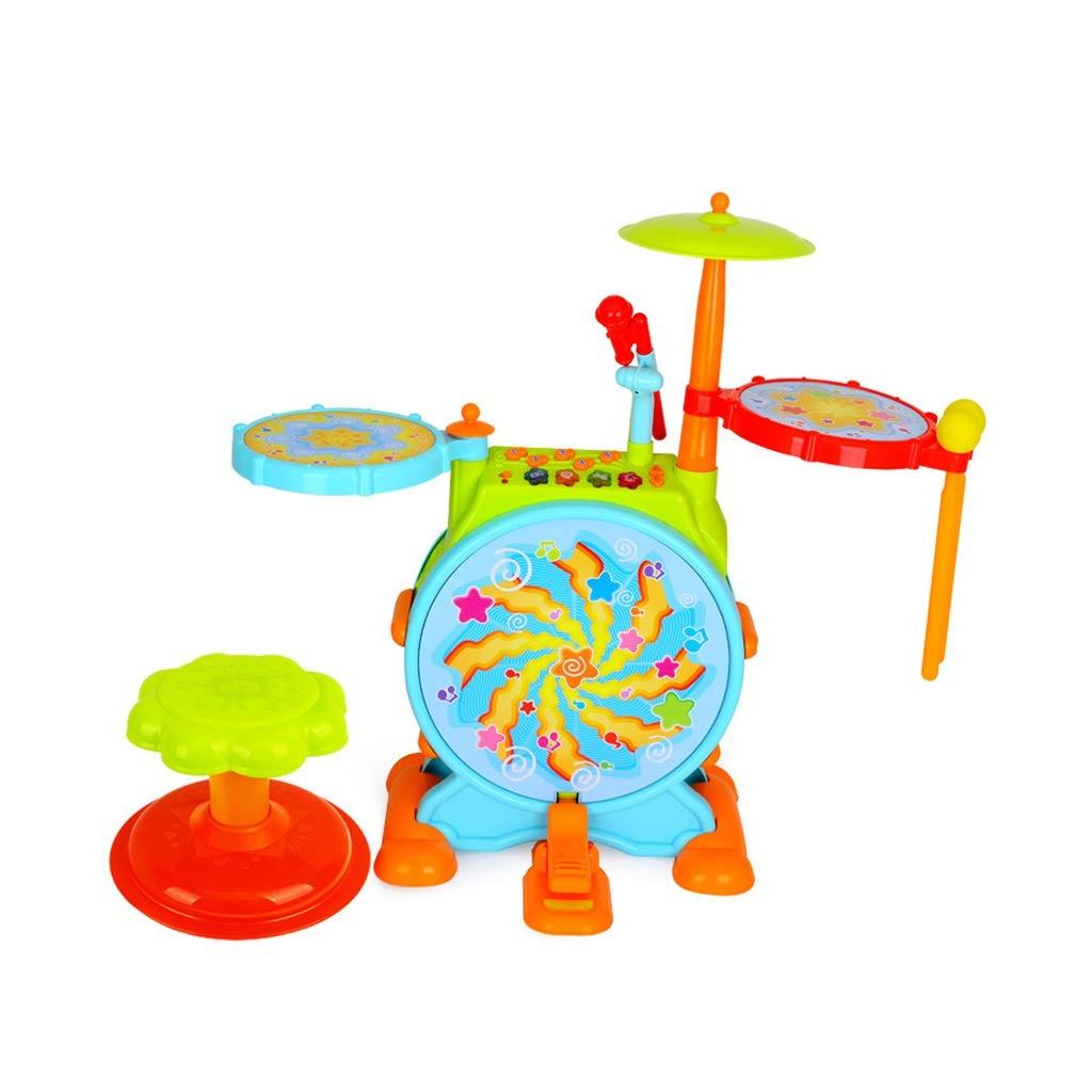 LINGLING-Tamburo Batterie per Bambini Cartone Coloreato Battito Musicale Giocattoli per Bambini Regali Oltre 3 Anni (colore   Blu)