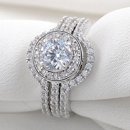 Newshe Jewellery 5CT Triple Round CZ White Gold Plated Engagement Wedding Band Ring Sets Size 8