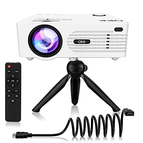 "QKK Upgrade 5500Lumens Mini Projector [Tripod Included] for Outdoor Movies 200"" Display Full HD 1080P Supported Portable Projector, Compatible with Phones, TV Stick, PS4, HDMI, AV, Soundbar, Dual USB"