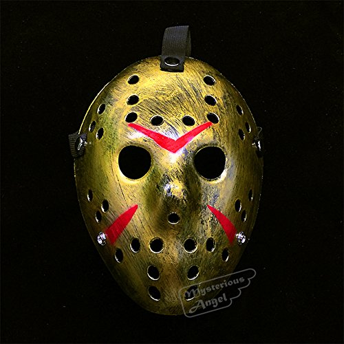 Vs Angel Halloween Costume (ArMordy(TM) Friday vs Jason mask Hockey Cosplay Costume Halloween Killer Horror Mask[ Gold ])