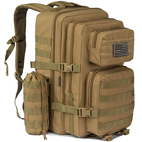 GZ XINXING 42L Large 3 Day Assault Pack Military Tactical Army Molle Rucksack Backpack Bug Out Bag Hiking Daypack for Hunting Camping Hiking Traveling with Water Bottle Pouch Carrier (Tan)