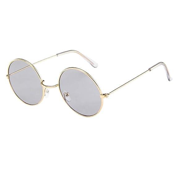 Keepwin Verano Nuevo Gafas De Sol Redondas PequeñA Polarizadas Lente Retro Espejo CíRculo Marco De Metal Hombre Mujer (A): Amazon.es: Ropa y accesorios