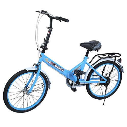 20'' Single Speed Folding Road Bike Double Disc Brake Students Bicycle Outdoor Sports Commuter Transit Bike