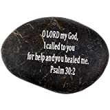 "Holy Land Market Engraved Inspirational Scripture Biblical Black Stones Collection – Stone VI : Psalm 30:2 :"" O Lord My God, I Called to You for Help and You Healed me. For Sale"