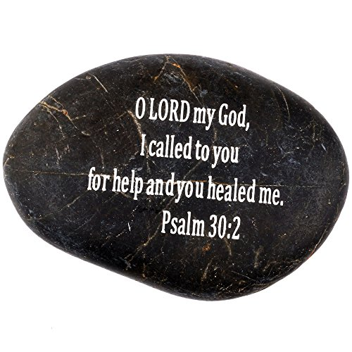 Stone Scripture (Holy Land Market Engraved Inspirational Scripture Biblical Black Stones Collection - Stone VI : Psalm 30:2 :
