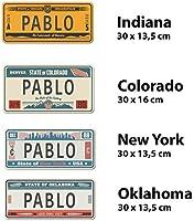 Megadecor Placa de Matrícula Decorativa de Aluminio o PVC Impreso de Estilo Vintage Americano Personalizado con Nombre 100% Personalizable 8 Modelos (Colorado, Aluminio Dibond 3 mm): Amazon.es: Hogar