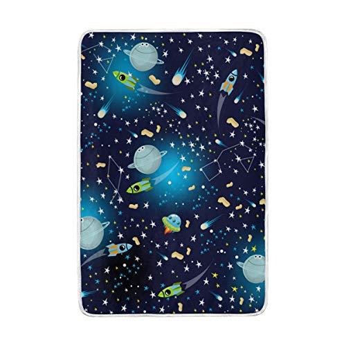 CPYang Cute Galaxy étoile Rocket Planet Couvre-lit Doux et Chaud en Microfibre Lit canapé couvertures pour Adulte Filles garçons Enfants 152 x 229 cm